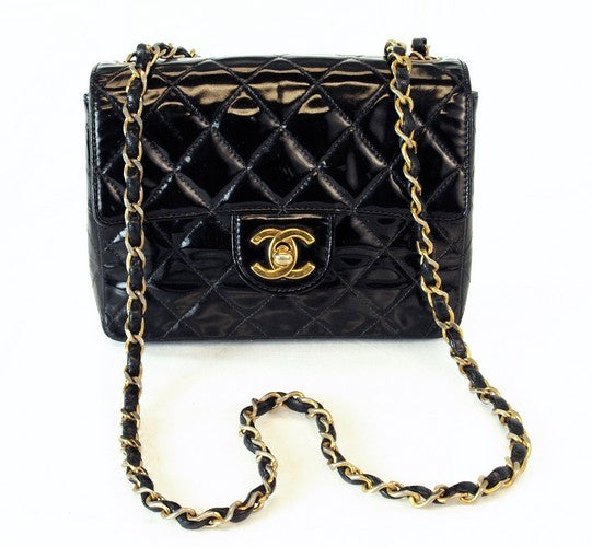 Chanel Patent Mini Flap Leather Handbag (Authentic Pre Owned)