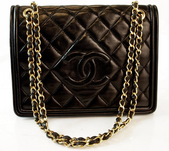 Chanel Lambskin Quilted Black Tote Leather Handbag (Authentic Pre Owned)