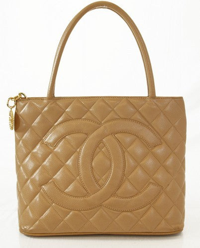 Chanel Beige Medallion Tote Leather Handbag (Authentic Pre Owned)