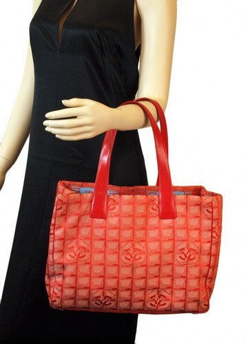 Chanel Red Cotton Tote Leather Handbag (Authentic Pre Owned)