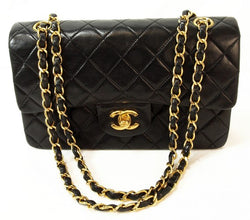Chanel Black Quilted Lambskin Flap 2.55 Leather Handbag (Authentic Pre Owned)