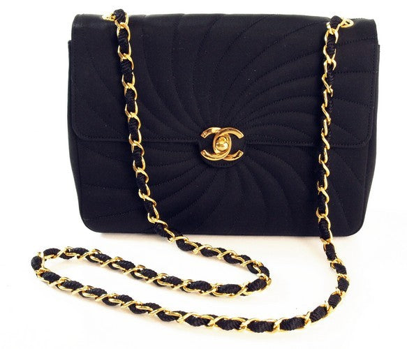 Chanel Black Satin Evening Handbag (Authentic Pre Owned)
