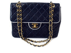 Chanel Navy/White Lambskin 2.55 Flap Leather Handbag (Authentic Pre Owned)