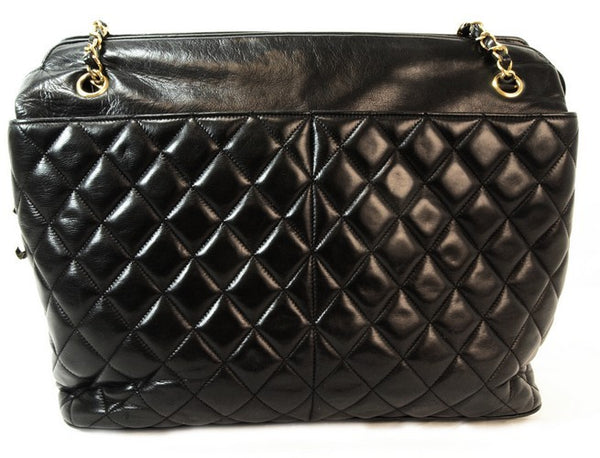 Chanel Lambskin Black Tote Leather Handbag (Authentic Pre Owned)