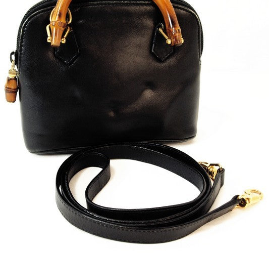 Gucci Bamboo Top Handle Black Leather Handbag (Authentic Pre Owned)