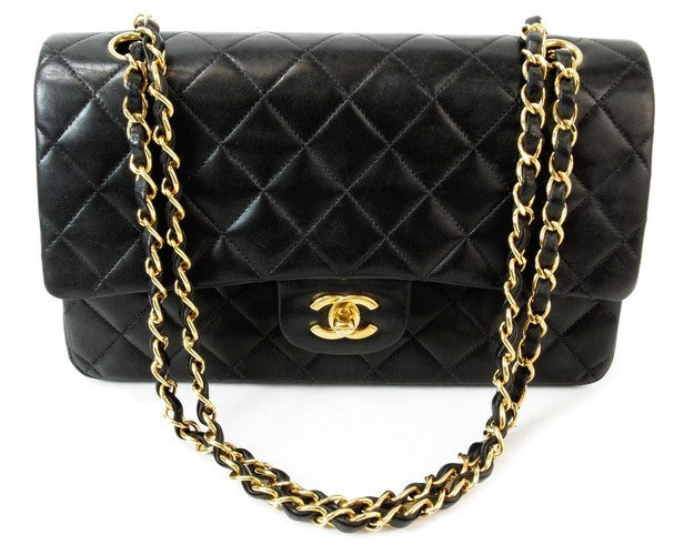 Chanel Black 2.55 Double Chain Leather Handbag (Authentic Pre Owned)