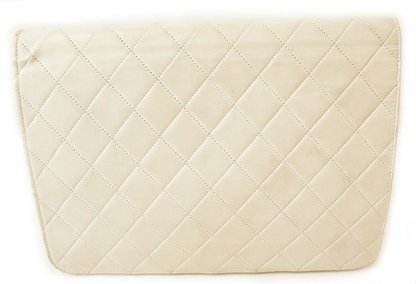 Chanel White Flap Leather Handbag (Authentic Pre Owned)