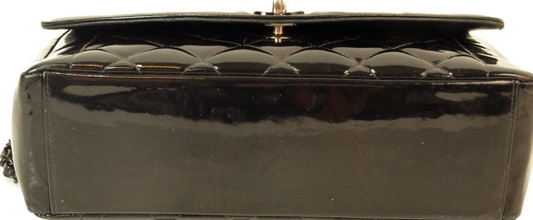Chanel Shiny Patent Flap Shoulder Leather Handbag (Authentic Pre Owned)