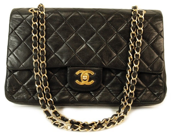 Chanel Quilted Lambskin Double Flap Leather Handbag (Authentic Pre Owned)