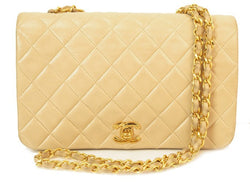 Chanel Beige Lambskin Flap Leather Handbag (Authentic Pre Owned)