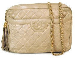 Chanel Ivory Single Chain Camera Leather Handbag (Authentic Pre Owned)
