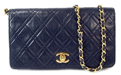 Chanel Vintage Navy Lambskin Diamond Stitch Flap Leather Handbag (Authentic Pre Owned)