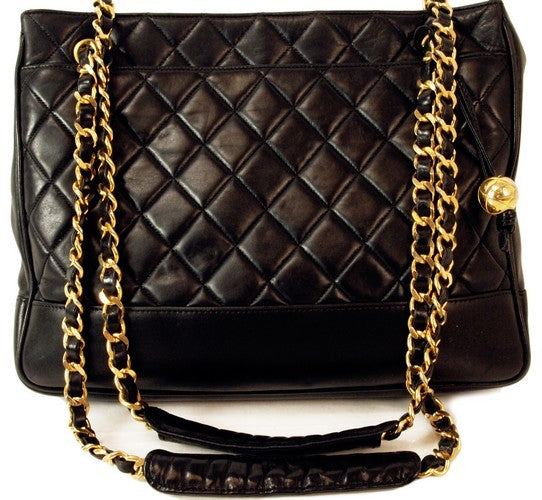 Chanel Vintage Black Lambskin Tote With Charm Leather Handbag (Authentic Pre Owned)