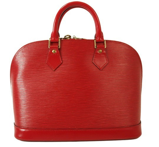 Louis Vuitton Red Epi Alma Leather Handbag (Authentic Pre Owned)