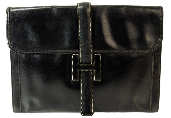 Hermes Black Jige GM Clutch Leather Handbag (Authentic Pre Owned)