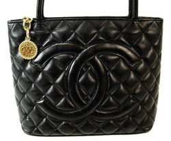 Chanel Black Caviar Medallion Leather Handbag (Authentic Pre Owned)