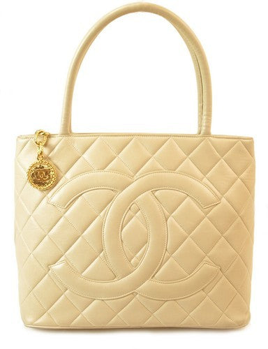 Chanel Ivory Medallion Tote Leather Handbag (Authentic Pre Owned)