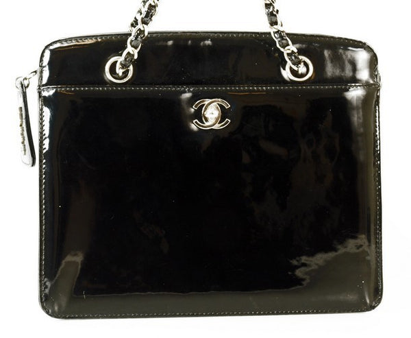 Chanel Black Patent Leather Handbag (Authentic Pre Owned)