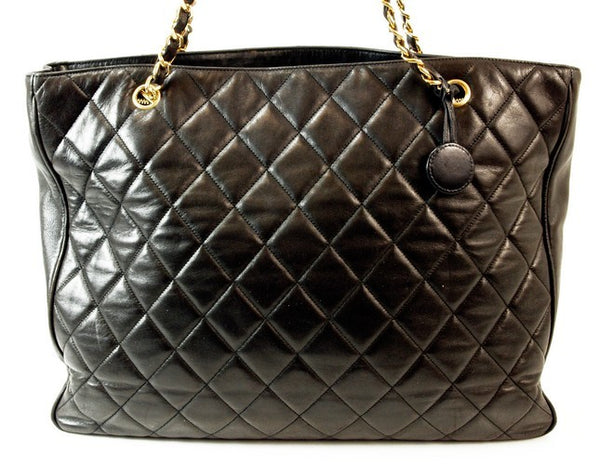 Chanel Black Tote Leather Handbag (Authentic Pre Owned)