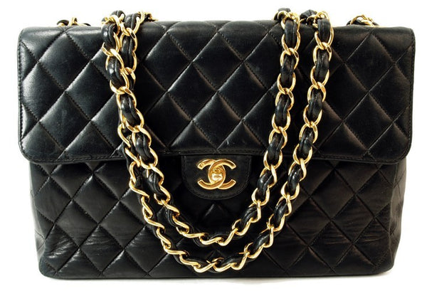Chanel Black Quilted Jumbo Classic Leather Handbag (Authentic Pre Owned)