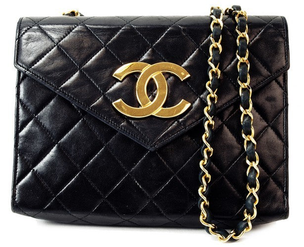 Chanel Vintage Black Lambskin Flap Leather Handbag (Authentic Pre Owned)