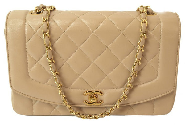 Chanel Beige Leather Handbag (Authentic Pre Owned)
