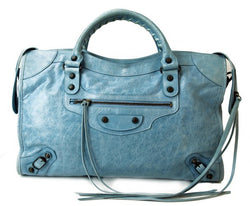 2009 Balenciaga Blue Layette City Leather Handbag (Authentic Pre Owned)