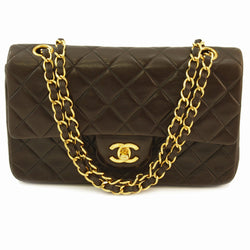 Chanel Brown Double Chain Leather Handbag (Authentic Pre Owned)