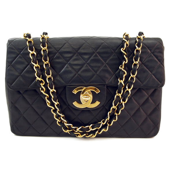 Chanel Black Maxi Double Chain Leather Handbag (Authentic Pre Owned)