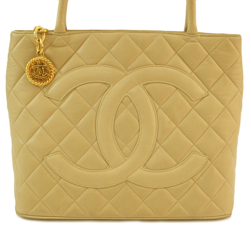 Chanel Beige Medallion Leather Handbag (Authentic Pre Owned)