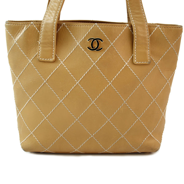 Chanel Beige Surpique Leather Handbag (Authentic Pre Owned)