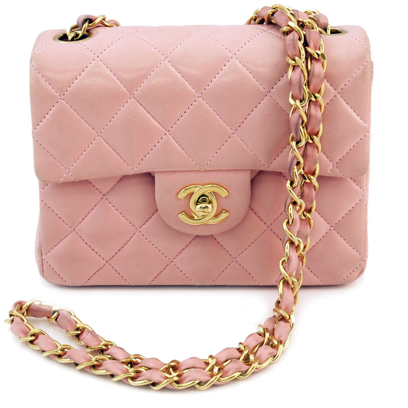 Chanel Pink Mini Flap Leather Handbag (Authentic Pre Owned)