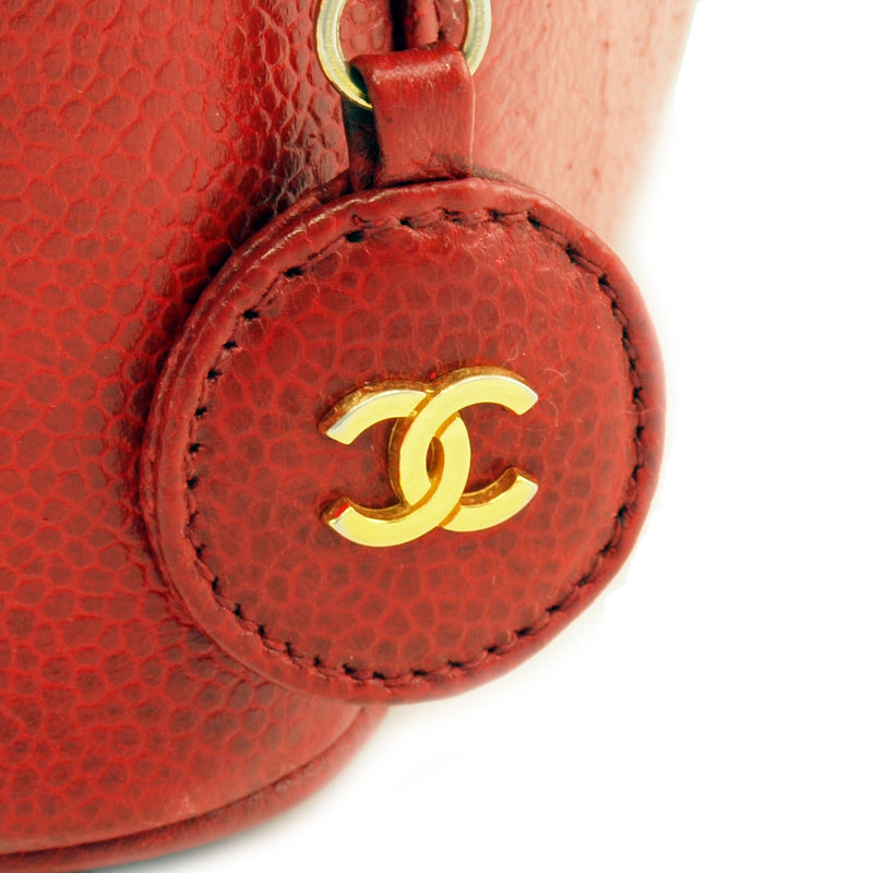Chanel Red Caviar Cosmetic Case Leather Handbag (Authentic Pre Owned)