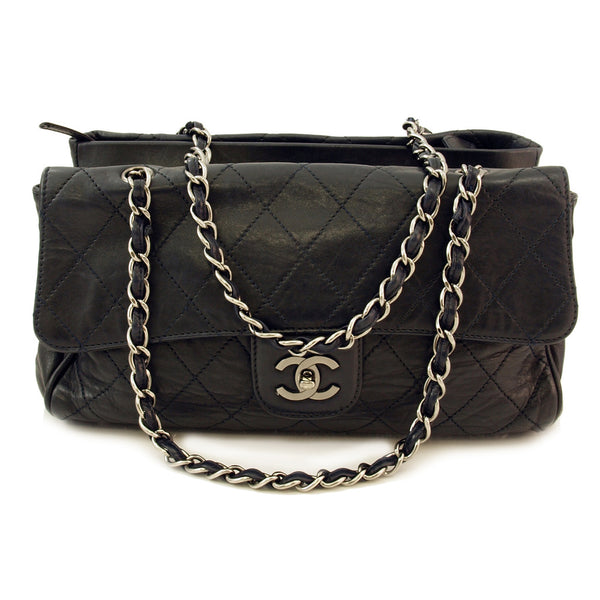 Chanel Black/Silver Jumbo Leather Handbag (Authentic Pre Owned)