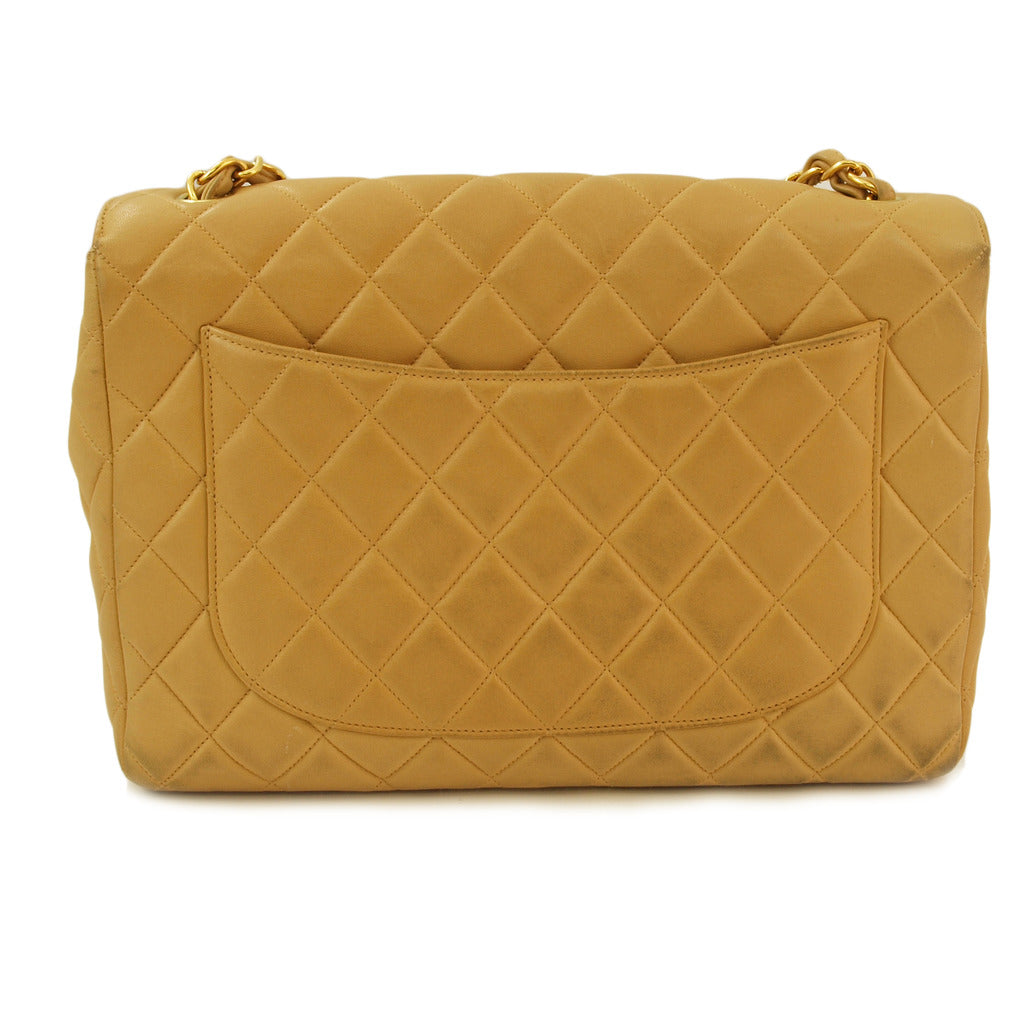 1108c9a4e6bf32 Chanel Beige Jumbo Lambskin Leather Handbag (Authentic Pre Owned ...
