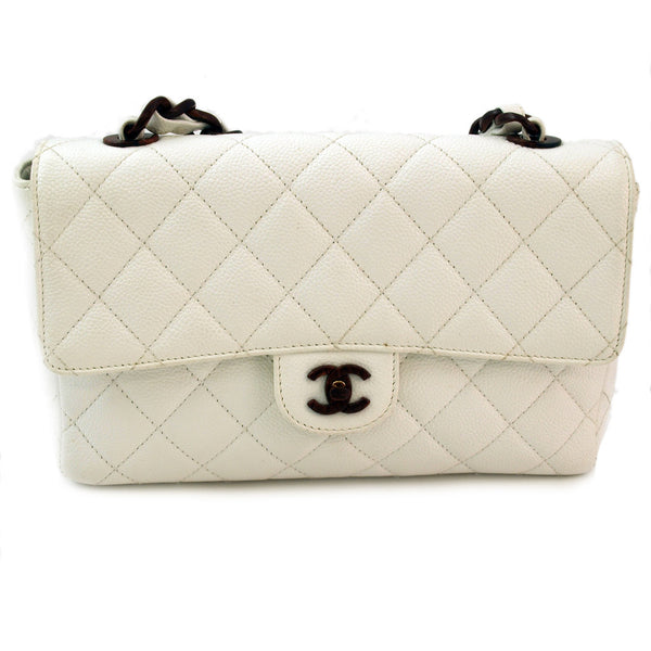 Chanel White Quilted Caviar 2.55 Leather Handbag (Authentic Pre Owned)