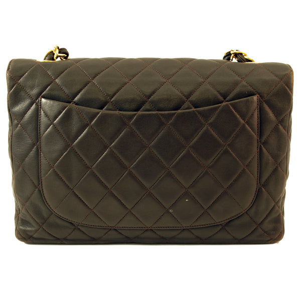 Chanel Brown Lambskin Quilted Xl Jumbo Leather Handbag (Authentic Pre Owned)