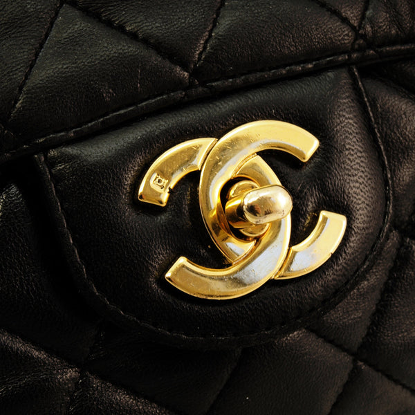 Chanel Black Quilted Jumbo Leather Handbag (Authentic Pre Owned)