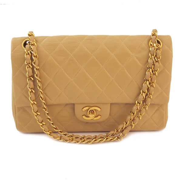Chanel Beige Lambskin Double Chain Leather Handbag (Authentic Pre Owned)