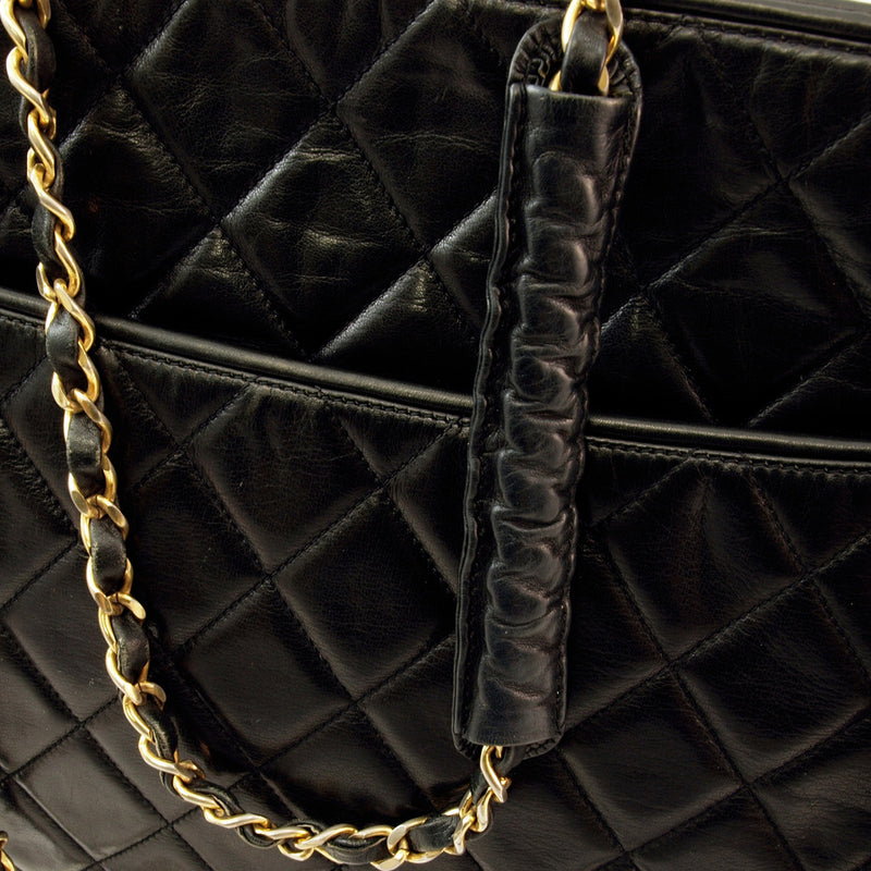 Chanel Black Chain Tote Leather Handbag (Authentic Pre Owned)