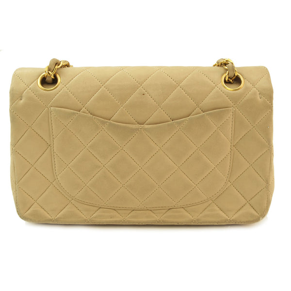 Chanel Beige Flap Leather Handbag (Authentic Pre Owned)