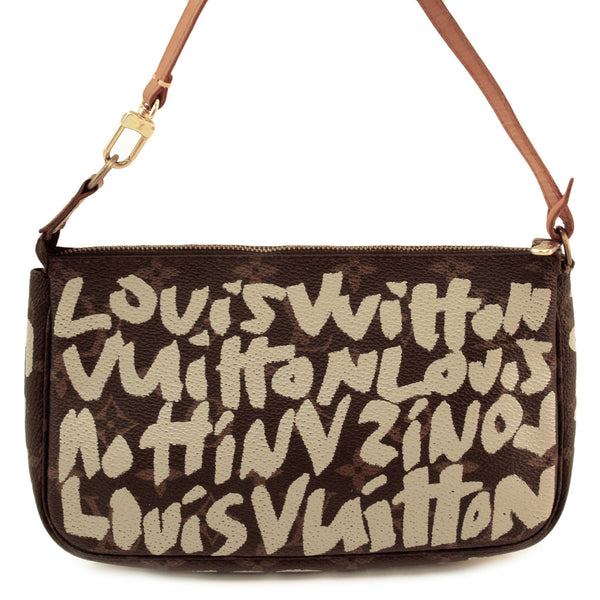 Louis Vuitton Graffiti Pochette Leather Handbag (Authentic Pre Owned)
