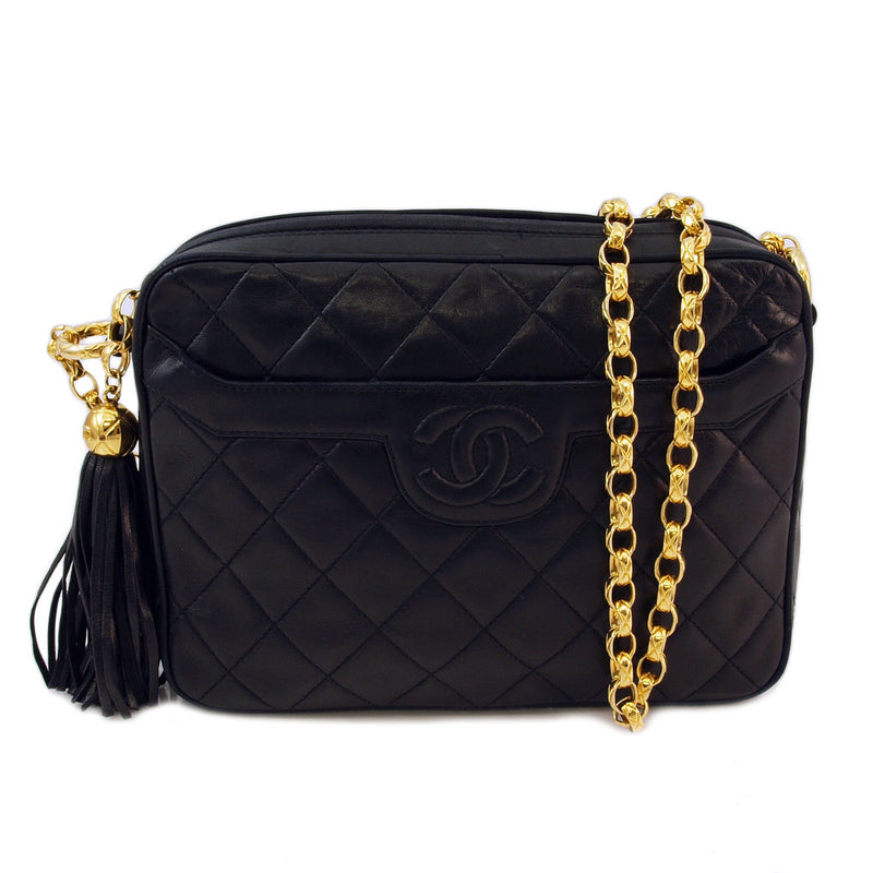 Chanel Black Fringe Flap Leather Handbag (Authentic Pre Owned)
