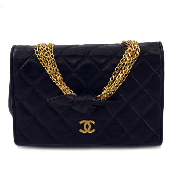 Chanel Black 6 Chains Flap Leather Handbag (Authentic Pre Owned)