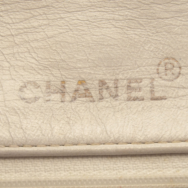 Chanel White Lambskin Single Chain Leather Handbag (Authentic Pre Owned)