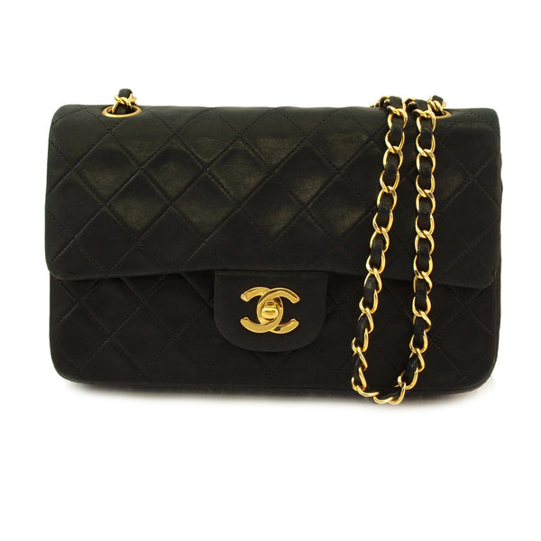 Chanel Double Chain Lambskin Leather Handbag (Authentic Pre Owned)