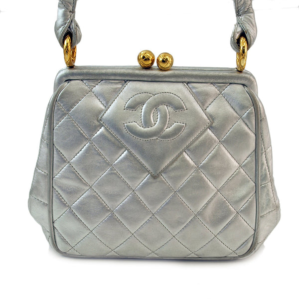 Chanel Metallic Silouis Vuittoner Small Lambskin Leather Handbag (Authentic Pre Owned)