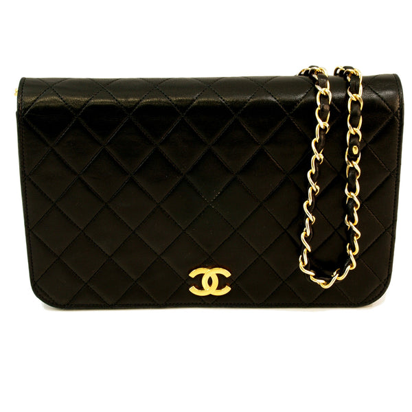 Chanel Vintage Black Lambskin Classic Flap Leather Handbag (Authentic Pre Owned)