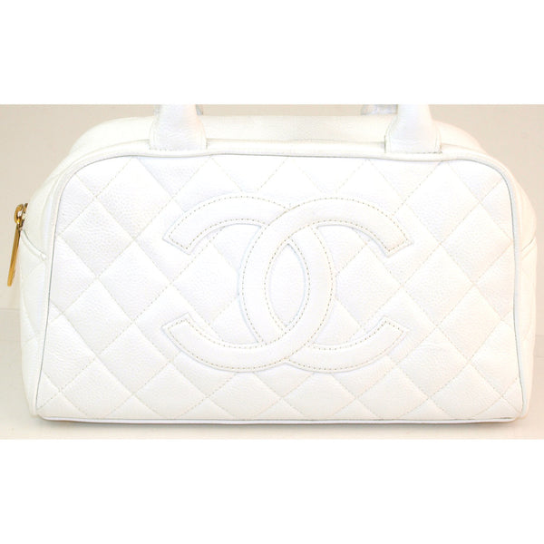 Chanel White Caviar Bowling Tote Leather Handbag (Authentic Pre Owned)