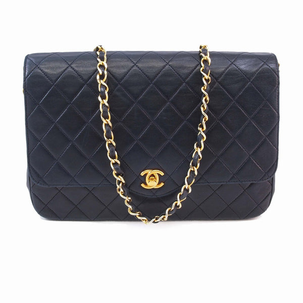 Chanel Vintage Navy Lambskin Flap Handbag (Authentic Pre Owned)